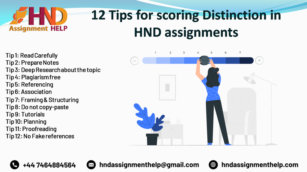 12 tips for scoring distinction in HND assignments.